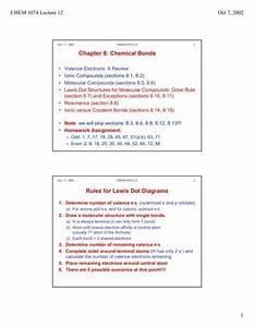 Chapter 8  Chemical Bonds Rules For Lewis Dot Diagrams