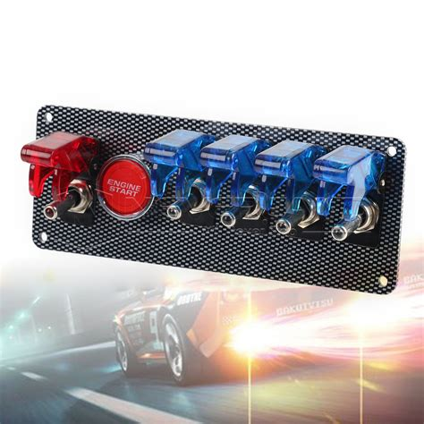 12v racing car 6 in 1 led toggle ignition switch panel