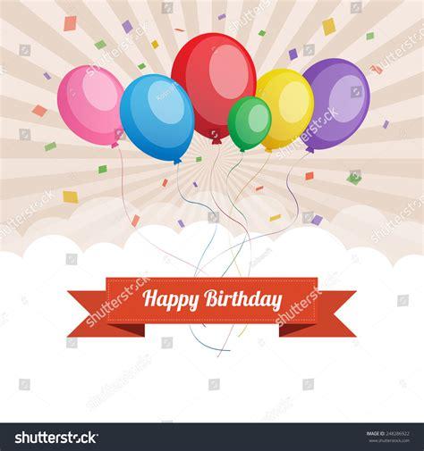 happy birthday text box color balloon stock vector