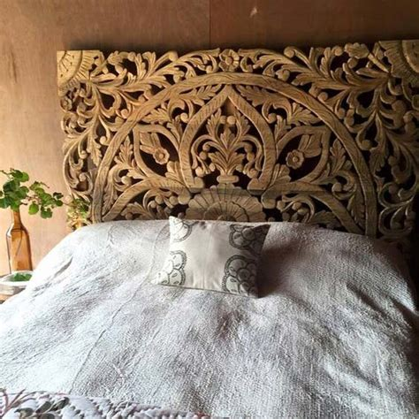 wooden headboard buy balinese carved wood bed headboard