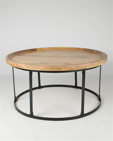 round industrial coffee table industrial round coffee table with natural wood top and