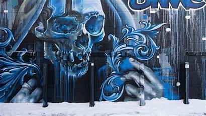 Graffiti Skull Wall Street 4k Background 1080p
