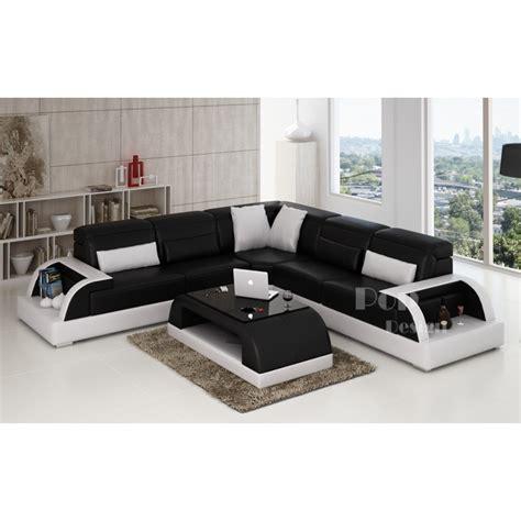 canapé simili cuir blanc pas cher canape angle noir blanc