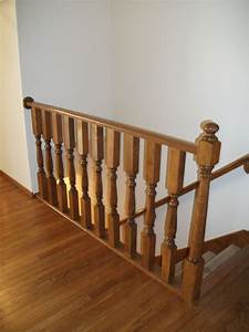 Guardrail, Along, Open, Staircase, To, Basement