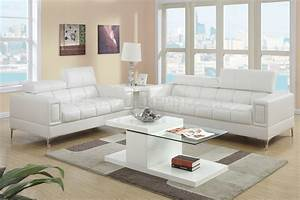 F7240 sofa loveseat set in off white bonded leather by for Poundex white faux leather modern sectional sofa