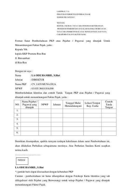 contoh surat pembatalan nomor seri faktur pajak surat 0