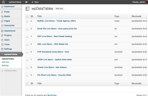 wpdatatables tables  charts manager  wordpress