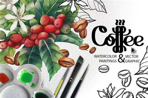 40 easy acrylic painting ideas on canvas. Watercolor and graphic coffee plants in Design Elements on Yellow Images Creative Store