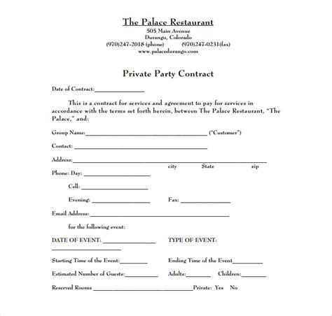 restaurant event contract templates  restaurant