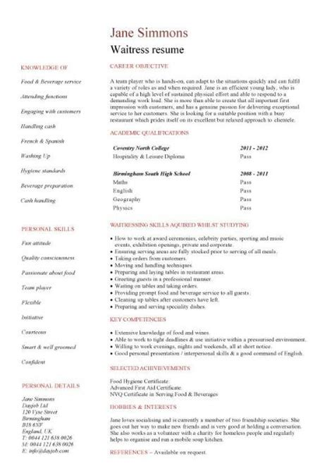 sample waiter resume hospitality cv templates free downloadable hotel
