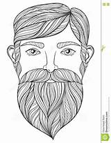 Coloring Beard Pages Mustache Adult Tattoo Zentangle Vector Portrait Print Ethnic Handsome Patterned Shirt Template A4 Neo Drawn Mo Illustration sketch template