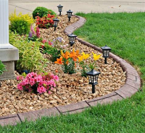 25 best ideas about rock flower beds on