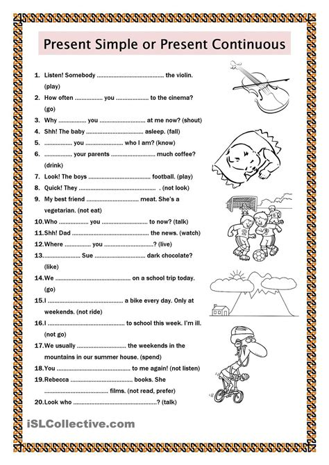 present simple or present continuous esl worksheets of