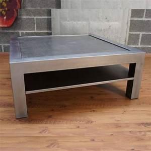 Table Salon Industriel : table salon m tal brut un style industriel loft ~ Melissatoandfro.com Idées de Décoration