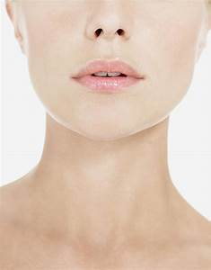 Closeup Of Pink Lips And Neck Stock Photo