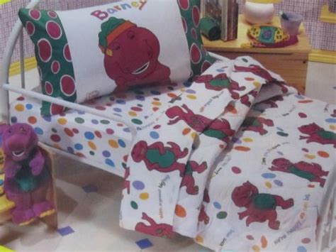 new vintage 1992 barney 4 piece comforter quilt set toddler bed crib sheets what s it worth