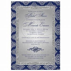 bridal shower invitation navy blue silver gray damask With wedding invitation designs blue and silver
