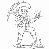 Miner Cartoon Coloring Panning Axe Pick Boy Illustrations sketch template