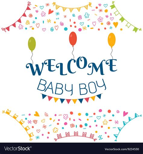 baby boy baby shower greeting card cute vector image