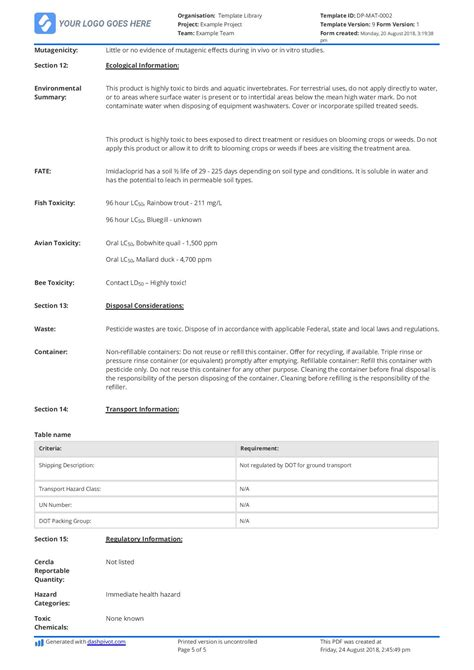 exle of material safety data sheet msds free and customisable