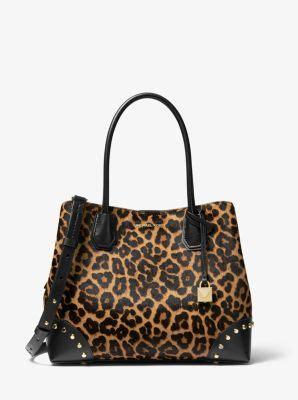mercer gallery medium leopard calf hair satchel michael kors