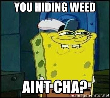 Spongebob Weed Memes - you hiding weed aint cha spongebob face meme generator