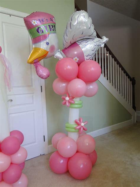 balloons baby shower baby girl stork column baby shower pinterest