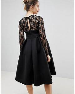 65c4a95e04826 Lyst - Asos Lace Long Sleeve Crop Top Prom Dress in Black onerror