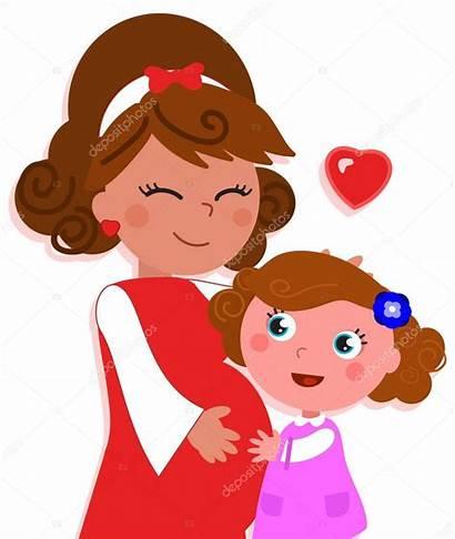Daughter Cartoon Mother Pregnant Mom Zwangere Fille