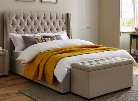 Upholstered Bed Frame by Deacon Beige Fabric Upholstered Bed Frame Dreams
