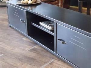 Meuble Acier Bois : meuble tv acier meuble de style industriel bois et acier sur mesure micheli design ~ Teatrodelosmanantiales.com Idées de Décoration