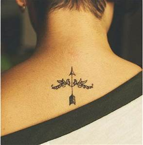 neck tattoo dainty arrow and floral pattern | Tattoo Love