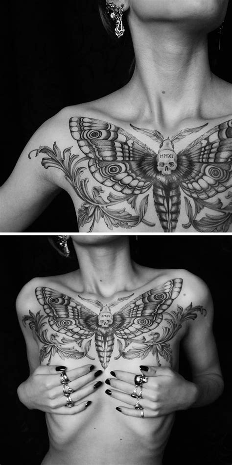 60 Best Chest Tattoos – Meanings, Ideas and Designs | Death head moth tattoo, Cool chest tattoos