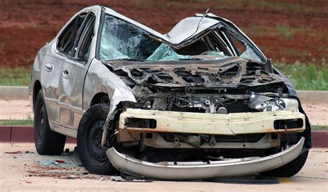 Smashed Car Stock Image. Image Of Automobile, Wrecked