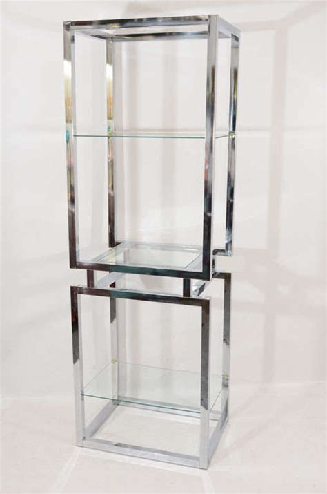 Chrome And Glass Etagere by Chrome And Glass Tower Etagere At 1stdibs