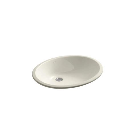 kohler caxton white undermount oval bathroom sink with overflow shop kohler caxton almond undermount oval bathroom sink at