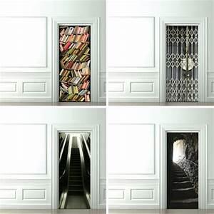Trompe l oeil door wallpaper design milk