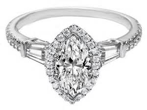 halo marquise engagement rings engagement ring marquise halo engagement ring baguette side stones in 14k white gold