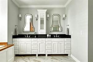 white double vanity with black countertop contemporary With white bathroom vanity with black countertop