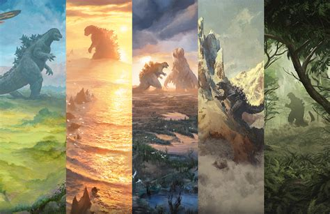 Search your library for a basic land card, reveal it, and put it into your hand, then shuffle your library.) The Godzilla Lands Magic The Gathering ALL 5 LANDS ONLY MTG Secret Lair Collectible Card Games ...