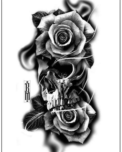 #skull #roses #rose #tattoo #design #digital #blackandgrey #bg #tattoos | Smoke tattoo, Forearm
