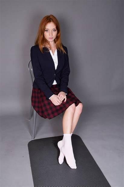 Michelle Uniform Redhead Fox Sitting Pornstar Socks