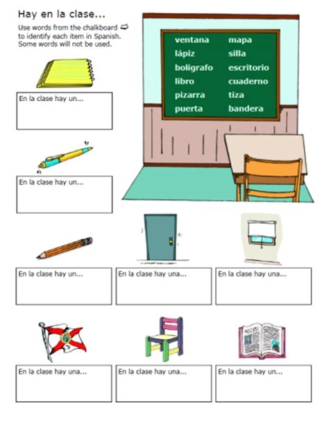 classroom objects worksheets printable spanish