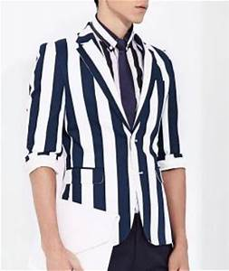 Casual Striped Blazer Suit Jacket Navy Blue White