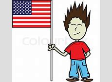 American boy holding a flag, flag of usa on a pole, boy