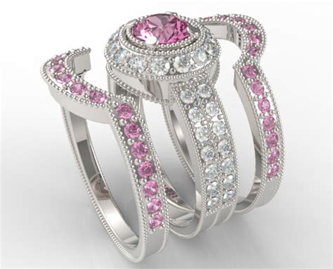 pink sapphire engagement ring filigree pink sapphire and trio wedding band set vidar jewelry unique custom