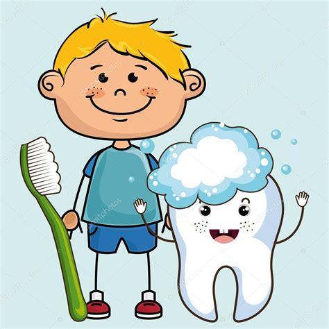 dibujo de cepillo de dientes infantil infantil de dibujos animados sonriente con cepillo de