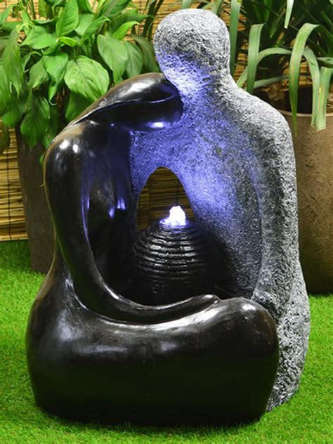 Solar Powered Granite Couple Water Feature With Battery