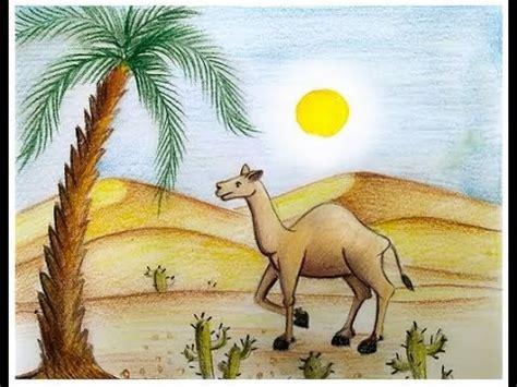 draw scenery  desert  camel youtube