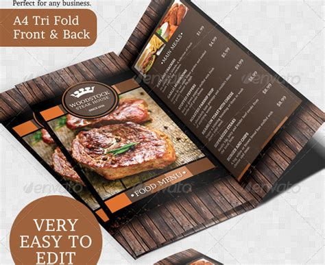 rustic rustikaler grill steakhouse flyer mit menuekarte